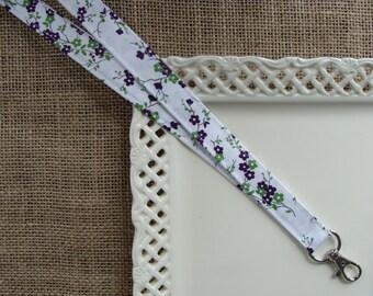 Fabric Lanyard - Purple & Green Cherry Blossoms on White #10