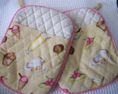 Pink and Yellow Retro Milk Bar Pot Holders