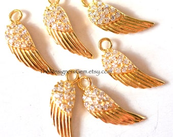 One Angel Bird Wing Charm with CZ Gemstones in Vermeil Gold