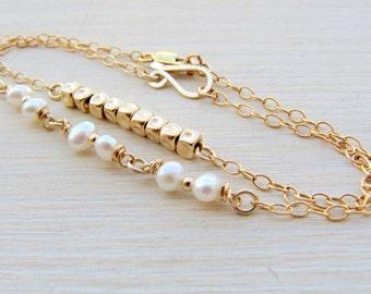 Pearl bracelet, Gold bracelets, Bracelet set, Gold pearl bracelet, Layer bracelets, Bridal bracelet, Delicate bracelet, Gold bridal bracelet