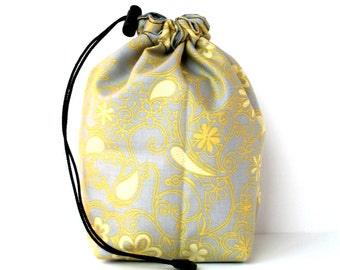 SALE - Drawstring bag - small reversible - knitting bag - yellow/grey swirl