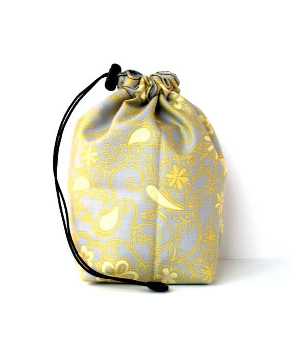 Knitting Pattern Small Drawstring Bag : SALE Drawstring bag small reversible knitting bag