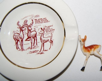 Vintage Talking Deer Small Plate / Ashtray 1950's