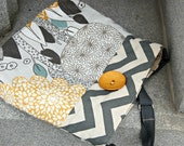 Handcrafted Messenger style crossbody bag.  adjustable strap & button. PLAYGROUND IN the CITY