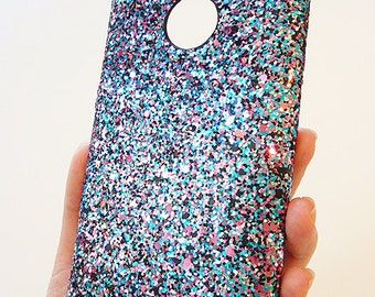 For Nokia Lumia 1520 Multicolor Specks Sequin Bling Cellphone Cell Phone Mobile cellular smartphone snap on Hard case Cover card