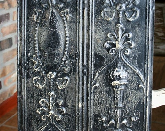 "Antique Ceiling Tile - 12"" x 12"" -- Distressed Black Paint -- Rare Victorian Design with Torch"
