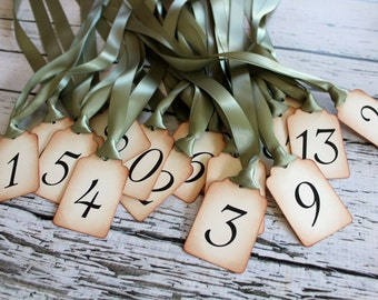 RESERVED for Bernie - Vintage Inspired Table Number Tags - NUMBERS 1-15