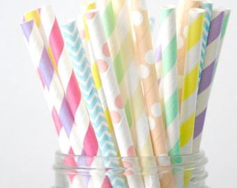 Paper Straws . Pastel Rainbow with Neon Pink . Wedding Decor  / bridal shower decoration / mason jar buffet table / wedding party decor