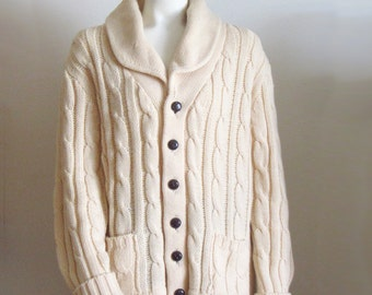 vintage 80s oversized cardigan sweater grandpa cozy Large