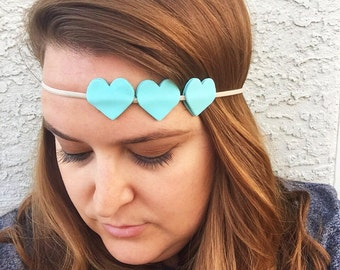Mint hearts headband