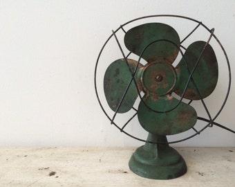 Vintage Industrial Electic Green Fan
