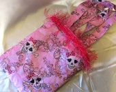 Pink Skull Quilted and Lined Cotton Tote Bag Pink Trim