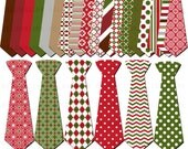 Holiday Necktie Clip Art Digital Scrapbooking Commercial Use - printable clipart - Instant Download  - DP293