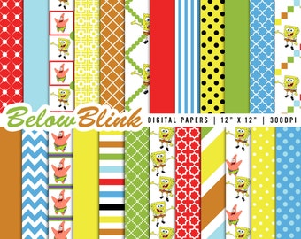 SpongeBob and Patrick Digital Paper Pack, Scrapbooking Papers, 24 jpg files 12 x 12 - Instant Download - DP296
