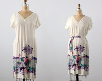 FREE SHIP  1980s beach tunic dress, vintage tropical sundress