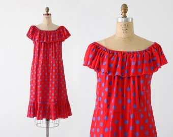 1960s polka dot sundress, vintage red day dress