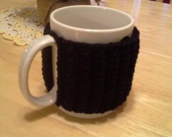 Basic Black  Slip On Mug Cozy, easy on easy off coffee mug cozies, koozie