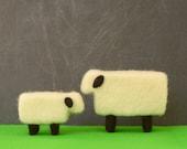 Needle Felted Sheep - mama and lamb,farm animals felted miniature home decor eco friendly modern white black