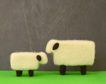 Needle Felted Sheep - mama and lamb,farm animals felted miniature home decor eco friendly modern white black