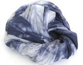 SALE ...   shades of indigo  ...   navy blue hand dyed silk scarf