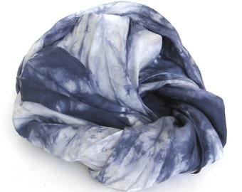 SALE ...   shades of indigo  ...   navy blue hand dyed silk scarf