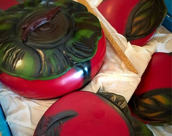 Takashimaya Japan Rice Bowl Set in Original Case - Red Tomatoes Snack Sushi Serving Set - Lidded Bowl 5 Plates - black lacquerware japanese