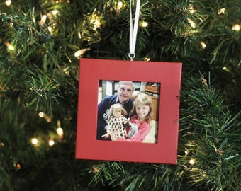 Picture Frame Ornament - Holly Berry Red, Free Shipping