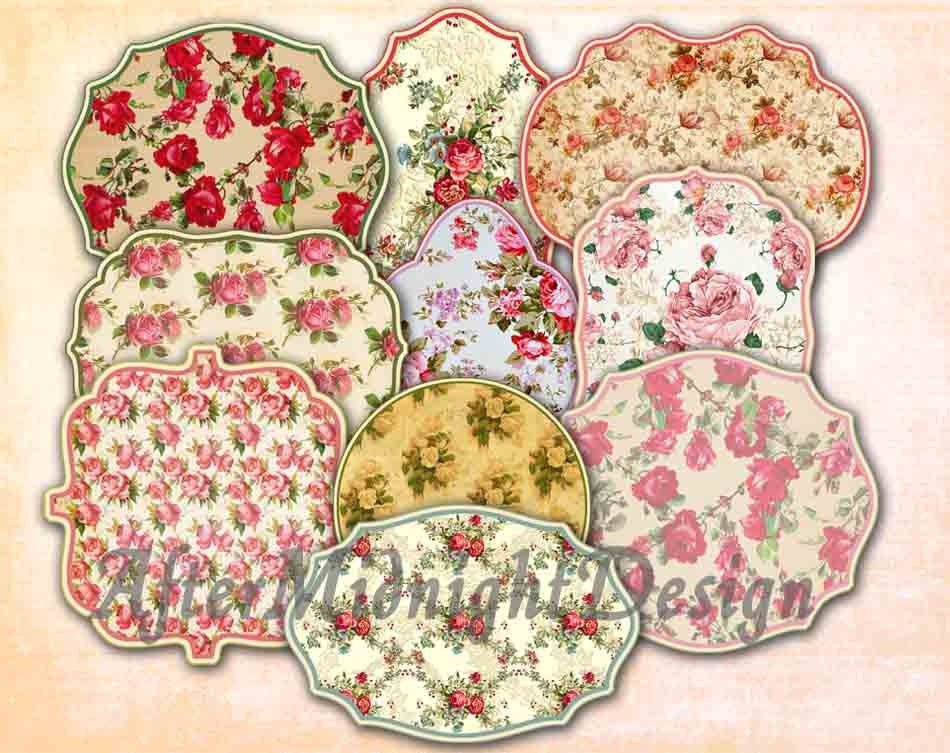 digital labels no 1 vintage floral clip art digital scrapboo