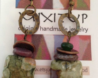 sea sediment jasper earring #305
