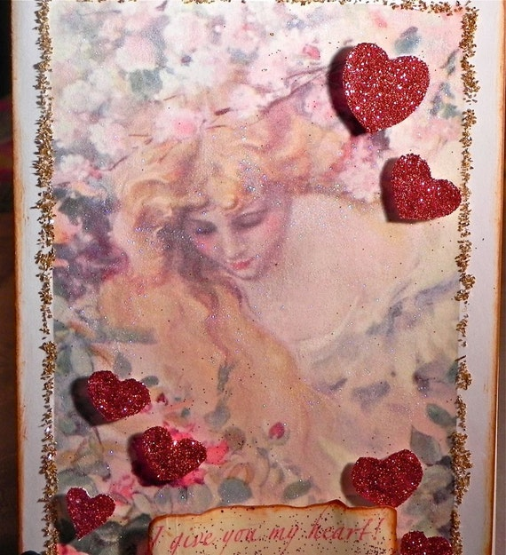 ROMANTIC ART NOUVEAU Valentine Card,  Glittered Red Hearts  Valentine Art Card, Mixed Media, Mucha Style Art Nouveau Lady