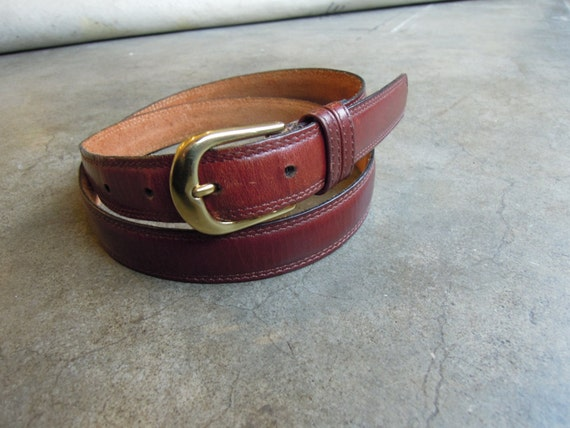 vtg henry brown mahogany leather belt w solid by sssggg