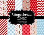 Christmas Gingerbread Digital Scrapbook Papers - Gingerbread House- Candy Cane