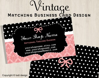 Vintage Business Card design to match Vintage Premade shop set