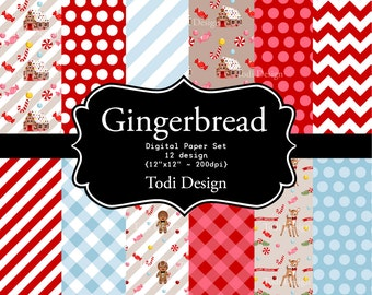 SALE Christmas Gingerbread Digital Scrapbook Papers - Gingerbread House- Candy Cane
