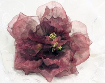 Peony Light Burdundy Organza Peony Plum Flower Six Inch Sheer Flower