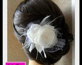 Bridal hair piece, Wedding Hair Accessory, Wedding Hair Flower, Wedding Headpiece, Bridal Hair Comb, Feathered Fascinator, Wedding Hair Comb