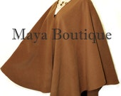 Caramel Cape Ruana Wrap Coat Cashmere Wool Blend by Maya Matazaro Made in USA