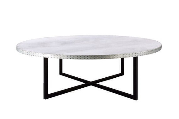 Zinc Table Zinc Coffee Table The Stella Round Zinc Top