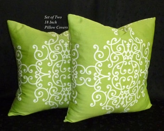 Pillows, DecorativePillows, Throw Pillows, Accent Pillows - Set of Two 18 Inch Decorative Pillow Covers - Lime Green