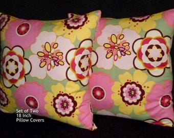 Throw Pillows, Decorative Pillows, Accent Pillows, Decorative Cushions- Two 18Inch In Pink Floral
