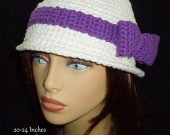 Crochet Fedora Hat, Ladies Fedora, Ivory Fedora Hat, Crochet Hat - Ivory with Purple Bow