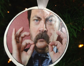 Ron Swanson Christmas Ornament