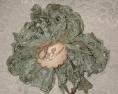 Scrunched Seam Binding ribbon, 10 Yards Tea Stained Seam Binding , Crinkled Tea Stained Antiqued French Green Seam Binding