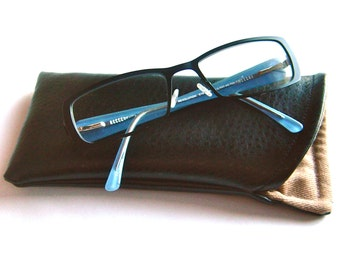 Glasses Case for Men or Women, Faux Leather Sunglasses Case, Black and Tan, Glasses Holder, Eyeglass Case, Eye Glass Holder, Gifts for Him