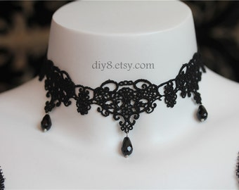 "Victorian Gothic Lolita Black lace NECKLACE with Black Crystal  Vampire Queen  Jewelry for Women - adjustable length 12"" - 15""(NL008)"