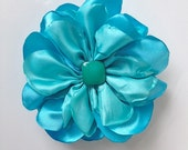 Tiffany and Sky Blue Double Ruffle Flower Pin or Hair Clip