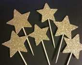 Gold Sparkle Star Cupcake Toppers