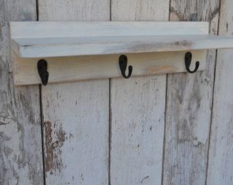 Wood Shelf Bathroom Kitchen Distressed Cottage Style Ivory Cream  Barn wood with Hooks