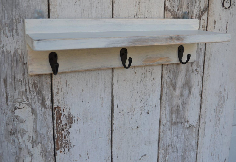Wood Shelf Bathroom Kitchen Distressed Cottage Style Ivory