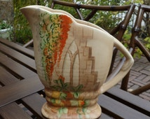 Beswick Pottery Pitcher Jug. Hand Painted Leaves. Art Deco. Vintage 1930s. Orange Green Brown. Clarice Cliff Era.